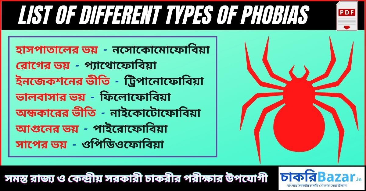 Types Of Phobias [pdf] | মানুষের বিভিন্ন ধরণের ভীতি সমূহ